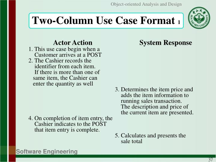 Two-Column Use Case Format