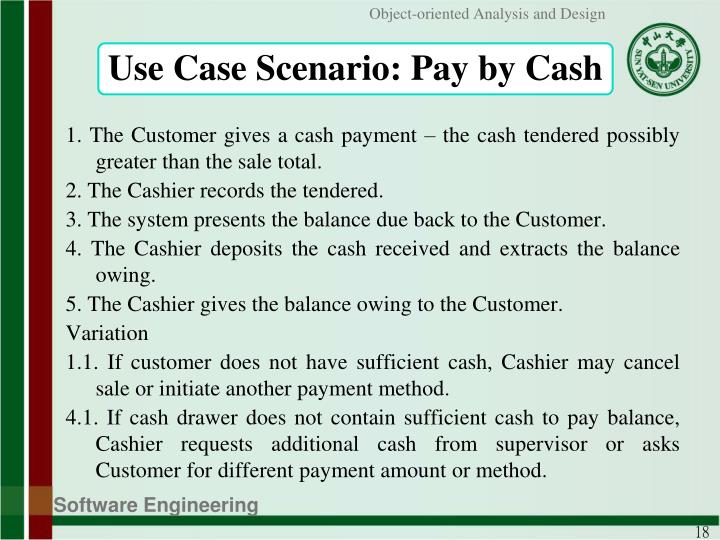 Use Case Scenario: Pay by Cash