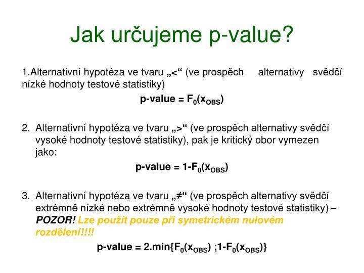 Jak určujeme p-value?