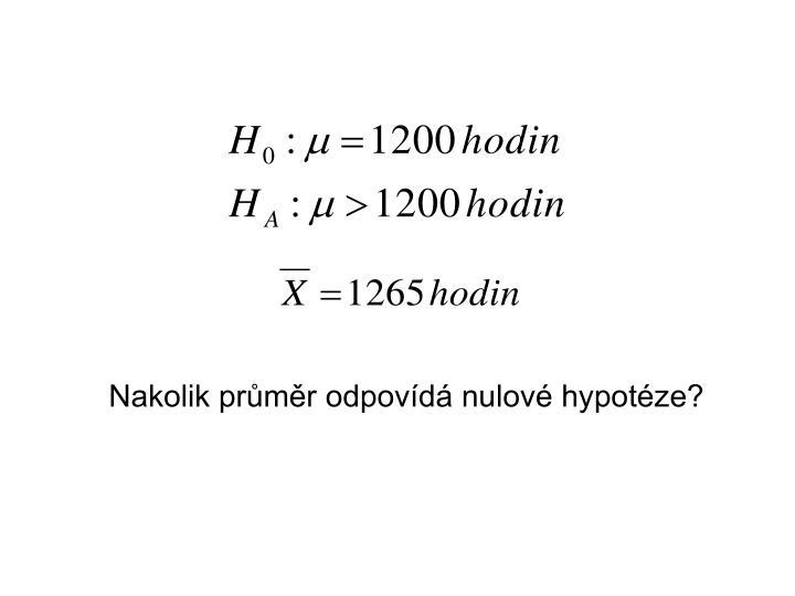 Nakolik průměr odpovídá nulové hypotéze?