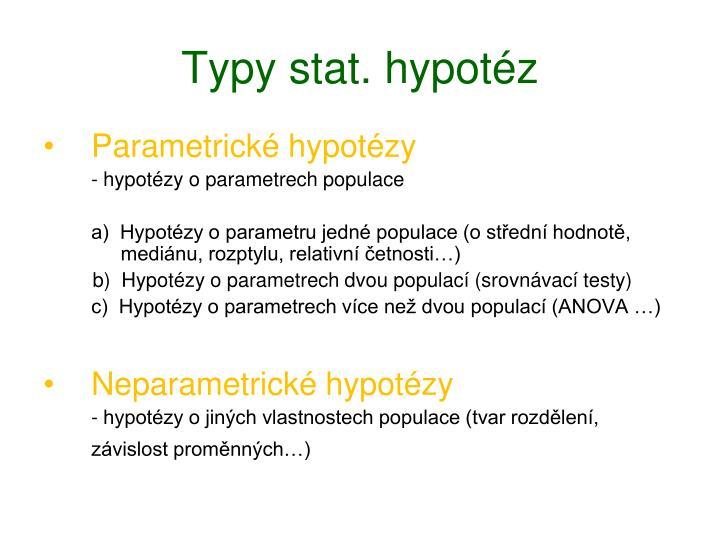 Typy stat. hypotéz