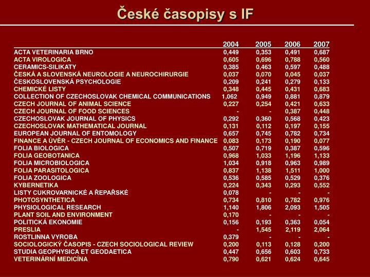 České časopisy s IF