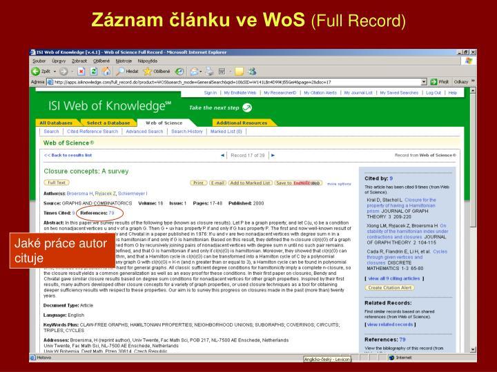 Záznam článku ve WoS