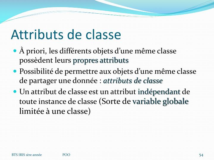 Attributs de classe