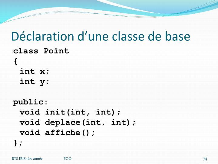 Déclaration d'une classe de base