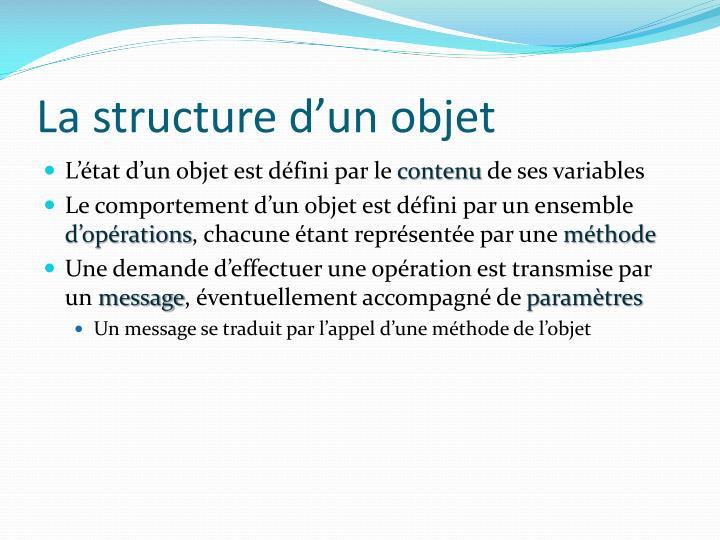 La structure d'un objet