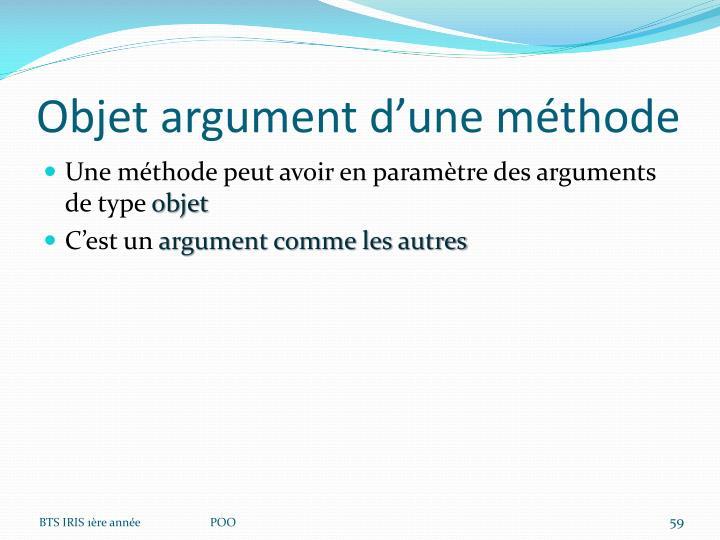 Objet argument d'une méthode