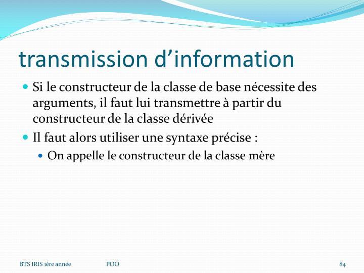transmission d'information