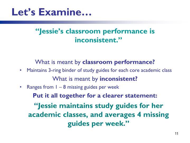 Let's Examine…