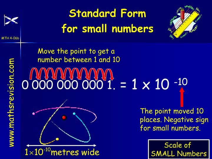 The point moved 10 places. Negative sign for small numbers.