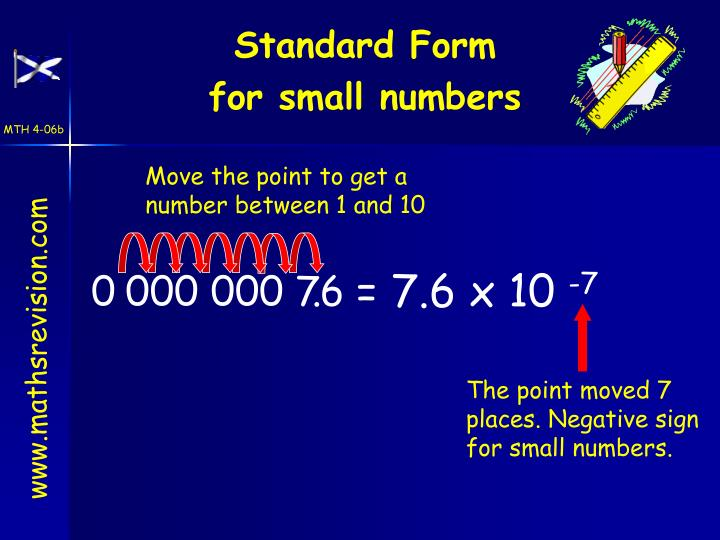 The point moved 7 places. Negative sign for small numbers.