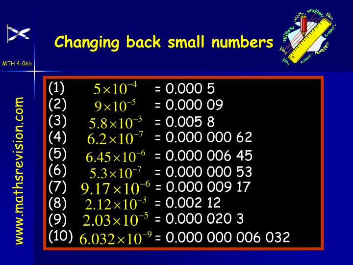 Changing back small numbers