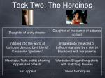 task two the heroines