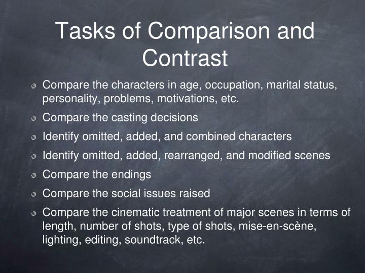 Tasks of Comparison and Contrast