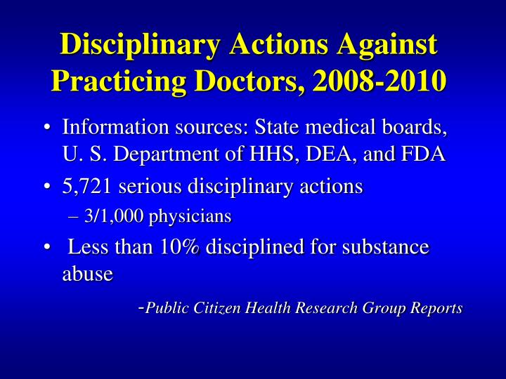 Disciplinary Actions Against Practicing Doctors, 2008-2010
