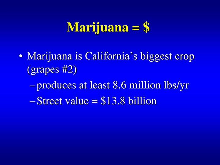 Marijuana = $