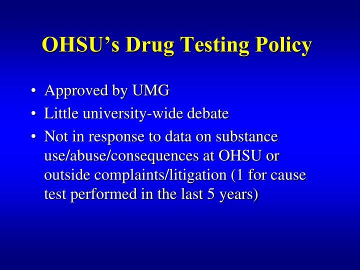 OHSU's Drug Testing Policy