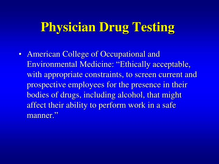 Physician Drug Testing