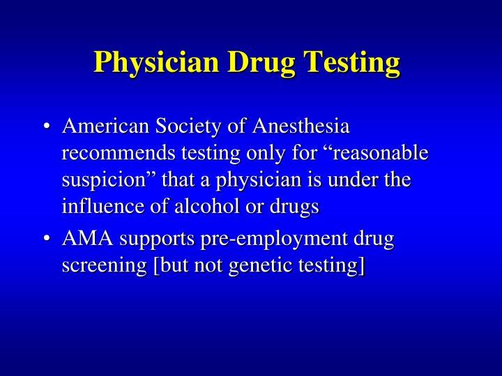 Physician Drug Testing