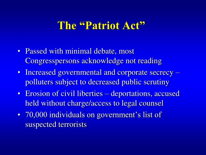 "The ""Patriot Act"""
