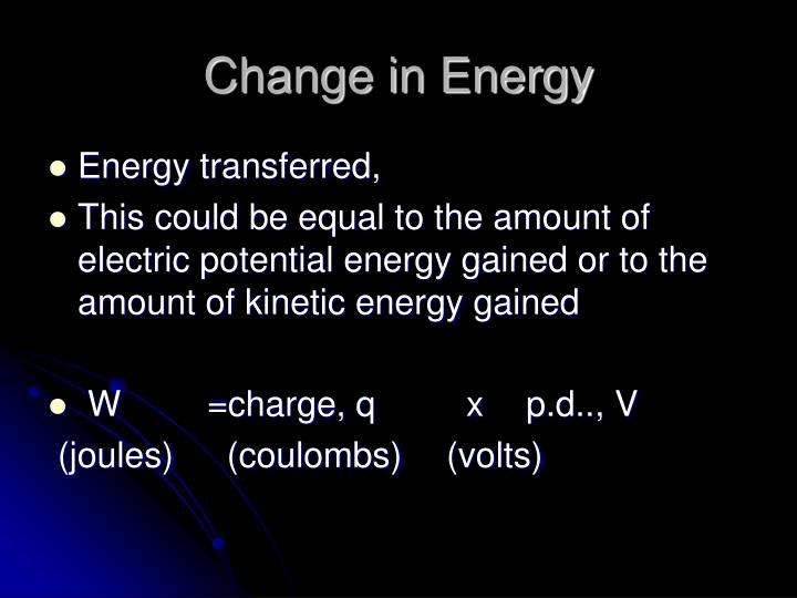 Change in Energy