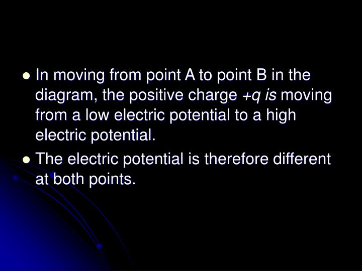 In moving from point A to point B in the diagram, the positive charge