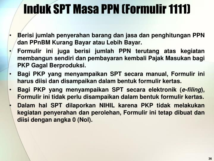 Induk SPT Masa PPN (Formulir 1111)