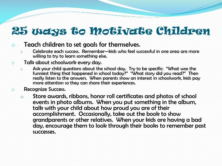 25 ways to Motivate Children