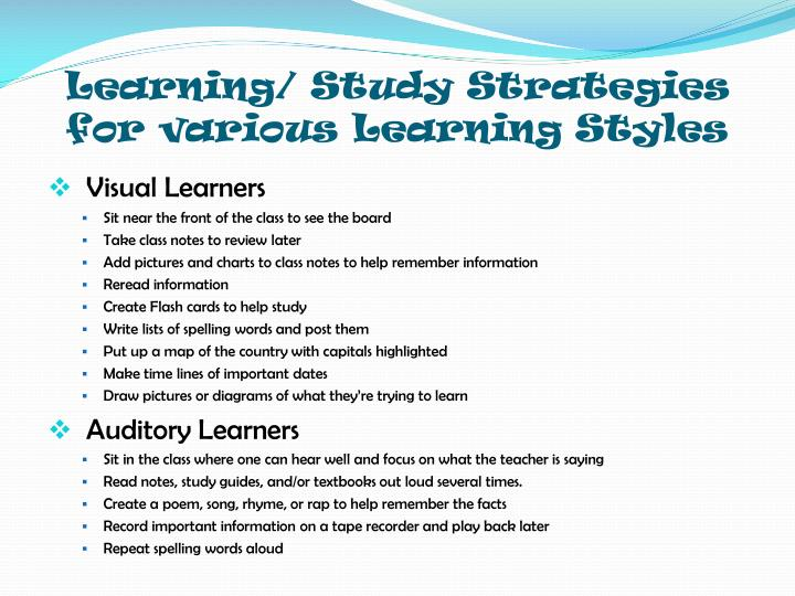 Learning/ Study Strategies for various Learning Styles