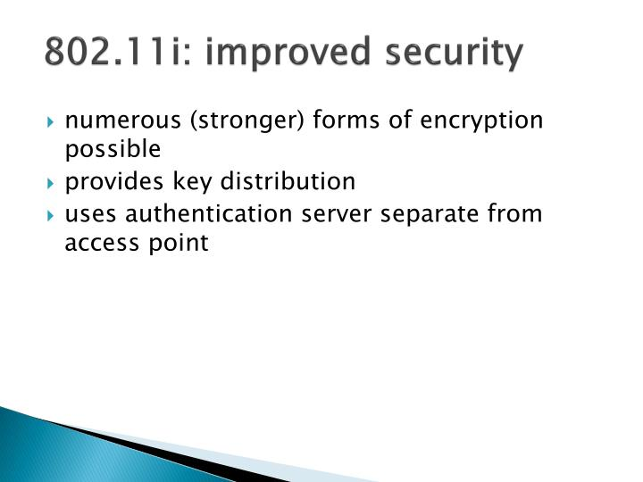 802.11i: improved security