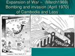 expansion of war march1969 bombing and invasion april 1970 of cambodia and laos