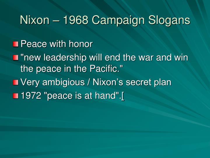 Nixon – 1968 Campaign Slogans