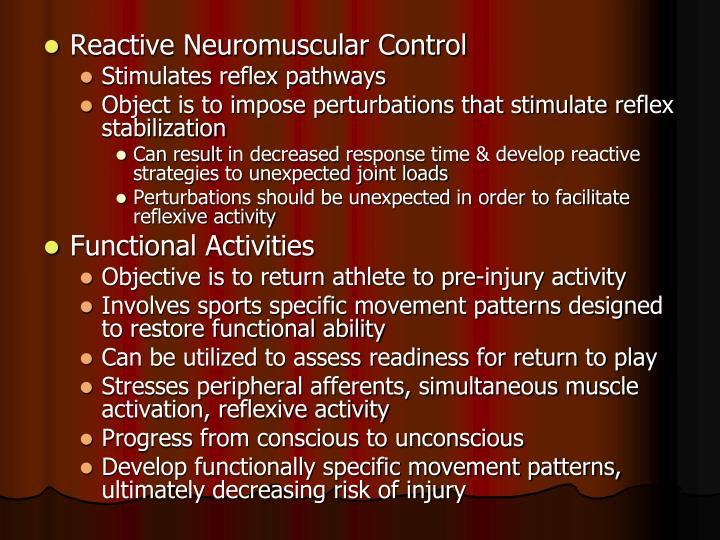 Reactive Neuromuscular Control