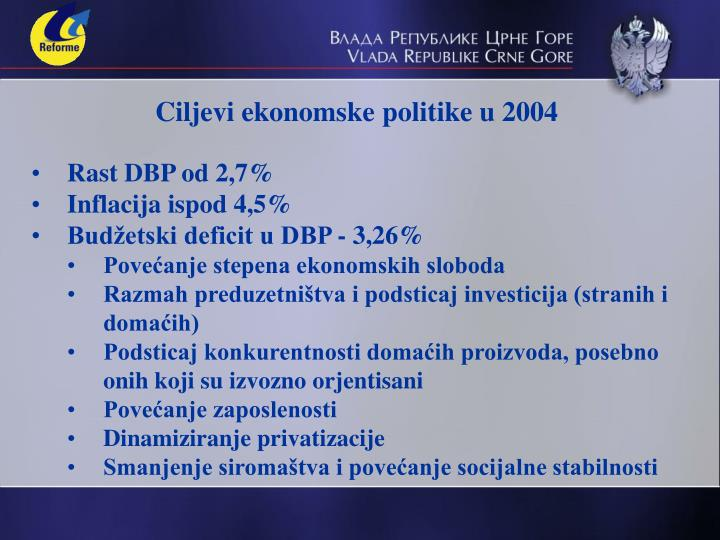 Ciljevi ekonomske politike u 2004