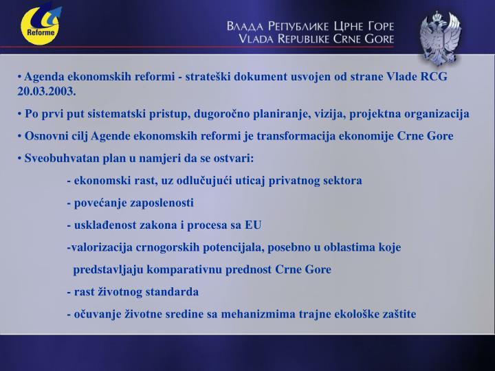 Agenda ekonomskih reformi