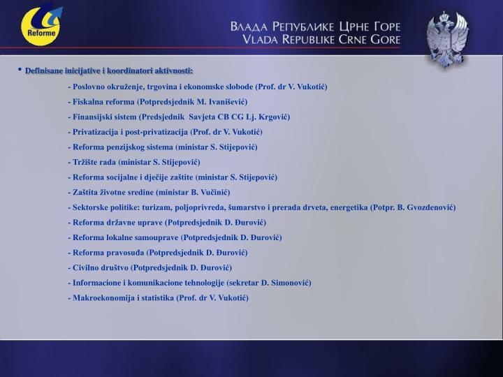 Definisane inicijative i koordinatori aktivnosti: