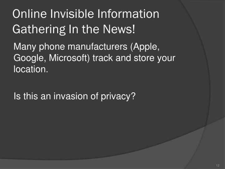 Online Invisible Information Gathering In the News!