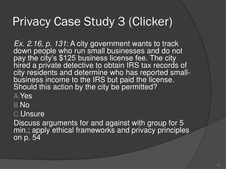 Privacy Case Study 3 (Clicker)