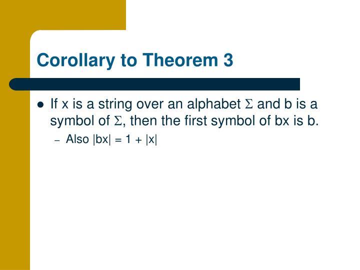 Corollary to Theorem 3