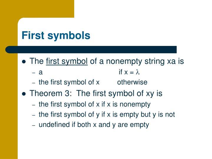 First symbols