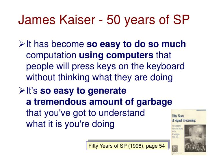James Kaiser - 50 years of SP