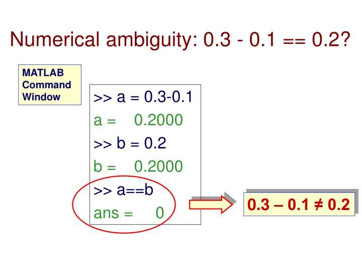 Numerical ambiguity: 0.3 - 0.1 == 0.2?