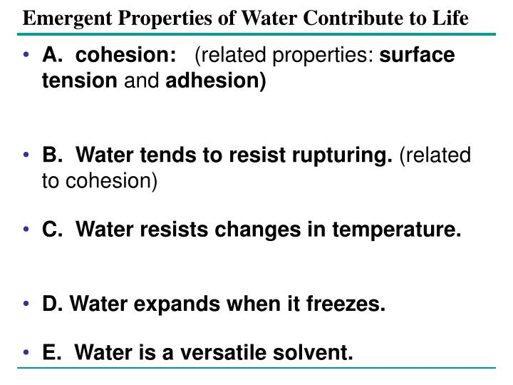 Emergent Properties of Water Contribute to Life