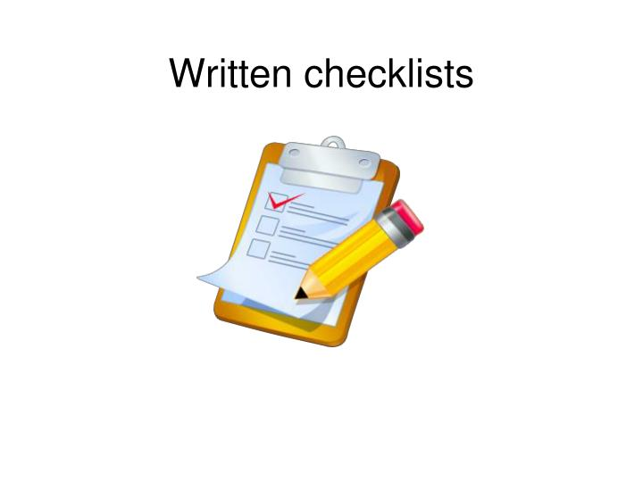 Written checklists