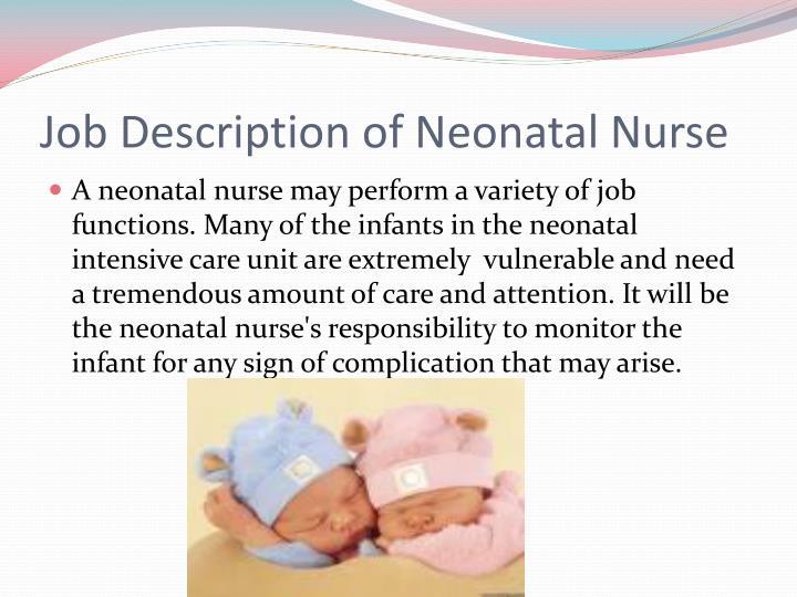 Job Description of Neonatal Nurse