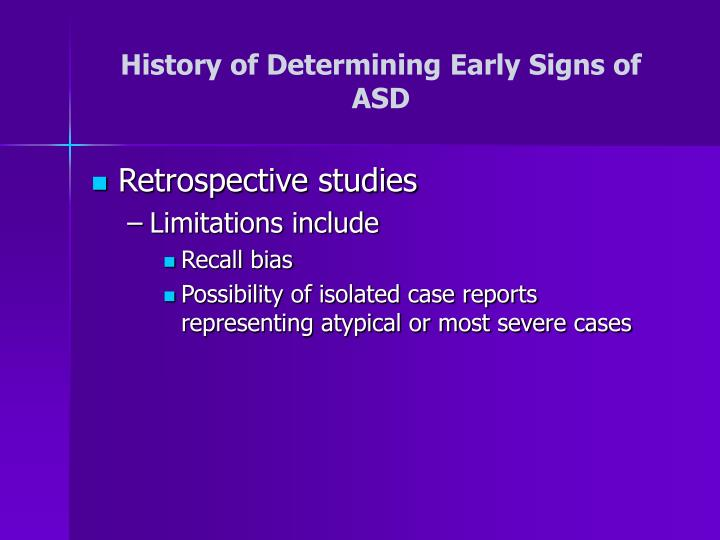 History of Determining Early Signs of ASD