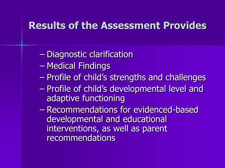 Results of the Assessment Provides