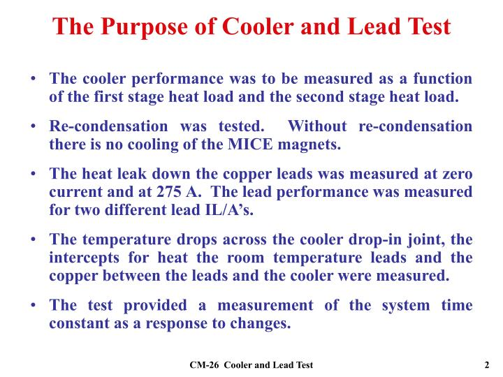 The Purpose of Cooler and Lead Test