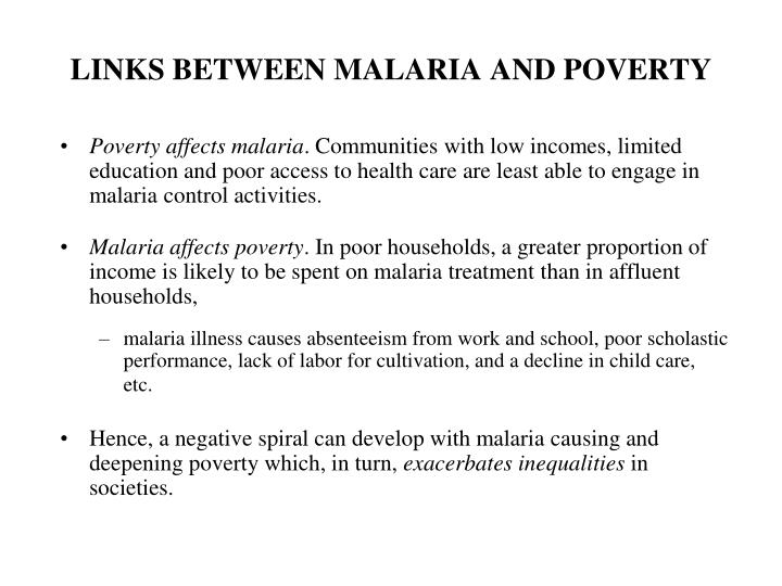 LINKS BETWEEN MALARIA AND POVERTY