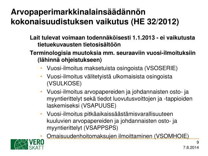 Arvopaperimarkkinalainsäädännön kokonaisuudistuksen vaikutus (HE 32/2012)